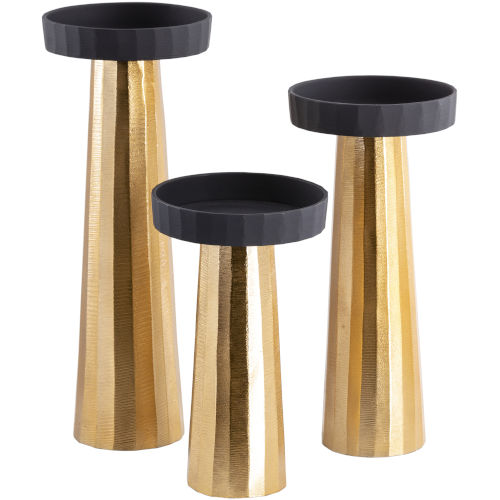 Taimur Gold Candle Holders, Set of 3