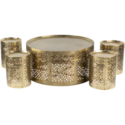 Tanishq Gold 35-Inch Accent Table, 5 Pieces