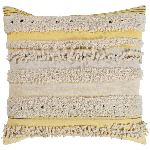 Temara Yellow 18-Inch Pillow With Polyester Fill