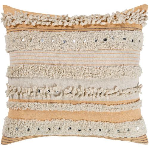 Temara Peach 18-Inch Pillow With Down Fill