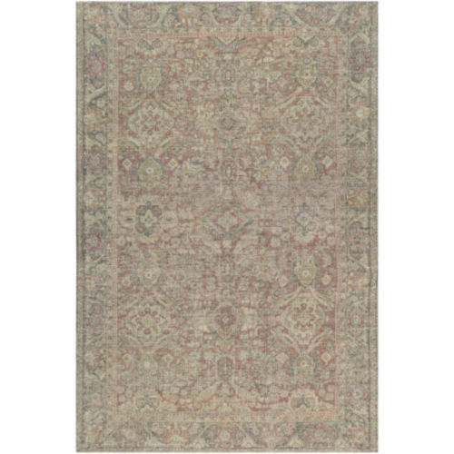 Unique Olive, Teal and Rust Rectangular Rug