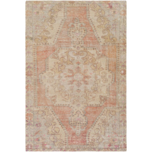 Unique Bright Orange, Wheat and Ivory Rectangular Rug