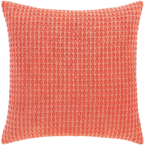 Waffle Bright Orange 22-Inch Throw Pillow