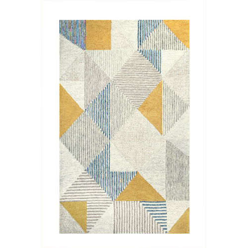 Griffin Blue Wool Rectangular: 3 Ft x 5 Ft Area Rug