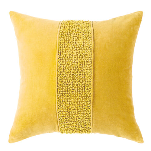 Topaz Gold 22-Inch Cotton Velvet Throw Pillow