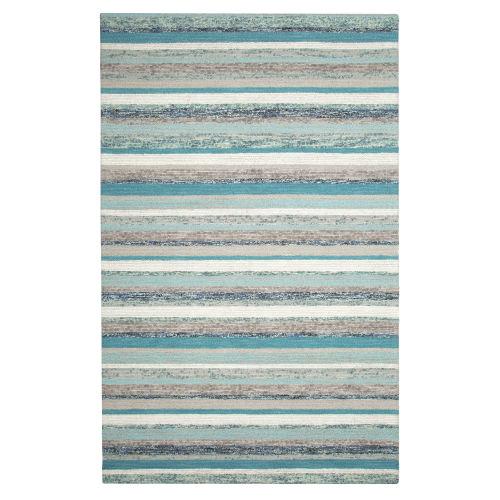 Fairfield Blue Wool Rectangular: 5 Ft x 8 Ft Area Rug