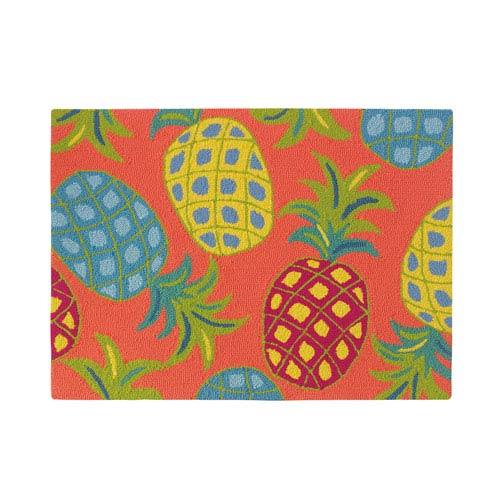 Company C Pineapples Coral Rectangular: 2 Ft. x 3 Ft. Indoor/Outdoor Rug