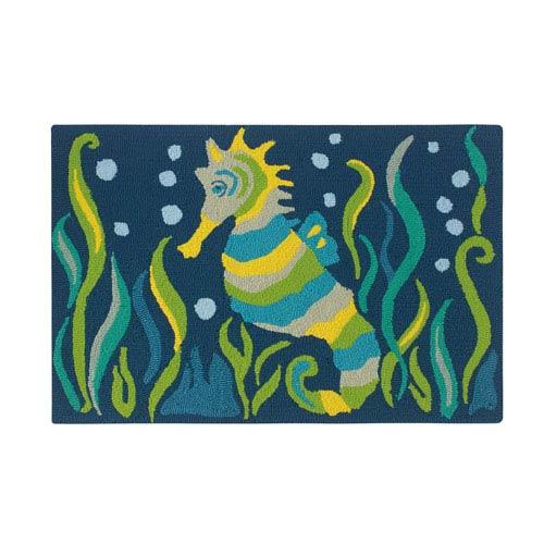 Company C Seahorse Blue Rectangular: 2 Ft. x 3 Ft. Indoor/Outdoor Rug