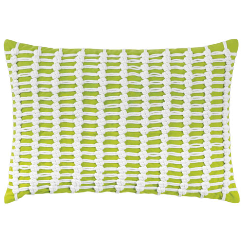Macrame Lime 14 x 20 In. Throw Pillow with Down Insert