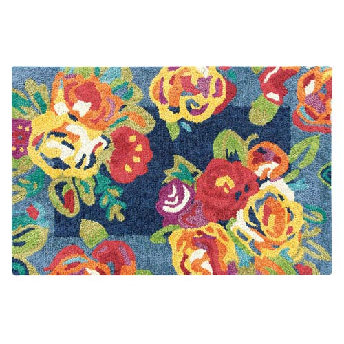 Company C Cabbage Roses Navy Rectangular: 2 Ft. x 3 Ft. Rug