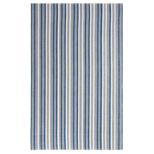 Company C Ticking Stripe Indigo Rectangular: 8 Ft. x 10 Ft. Indoor/Outdoor Rug