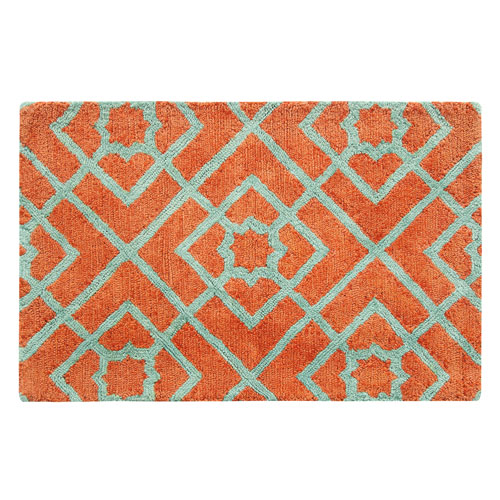 Diamond Lattice Coral Rectangluar: 2 Ft. x 3 Ft. Indoor Rug