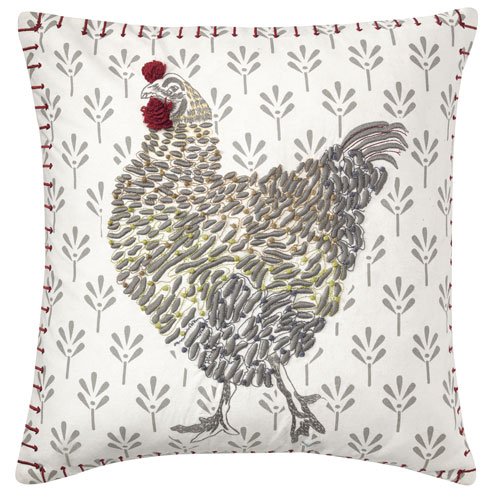 Coq-A-Doodle White 18 In. Throw Pillow