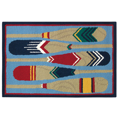 Paddles Blue Rectangluar: 2 Ft. x 3 Ft. Indoor/Outdoor Rug
