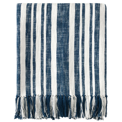 Denim Stripe Navy Throw