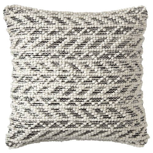 Herringbone Berber Black 18 In. Throw Pillow