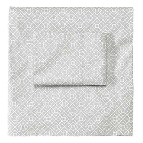 Company C Diamond Lattice Pewter Queen Sheet Set