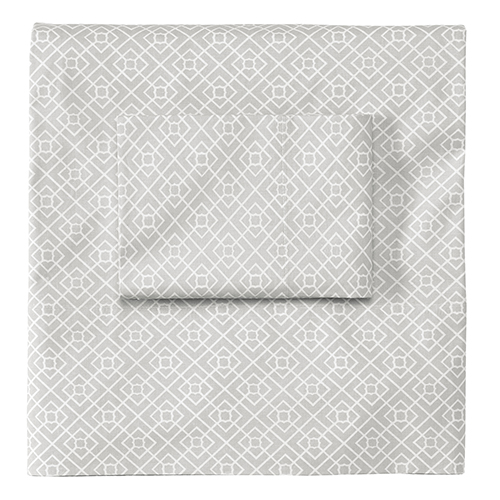 Diamond Lattice Pewter Standard Pillow Case Pair