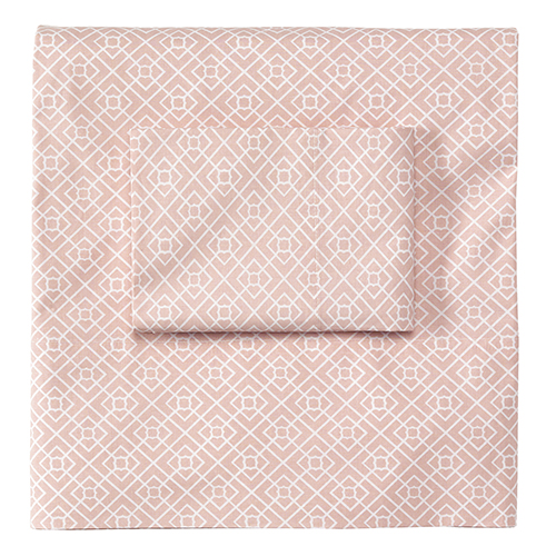Diamond Lattice Blush Standard Pillow Case Pair