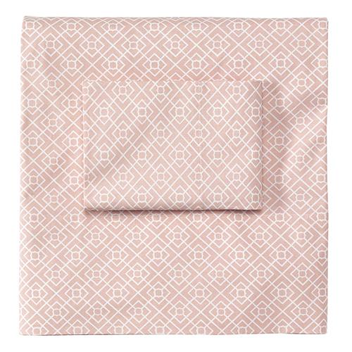 Diamond Lattice Blush Twin Sheet Set