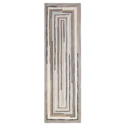 Company C Concentric Squares Gray Runner: 2 Ft. 6 In. x 8 Ft. Rug