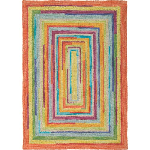 Company C Concentric Squares Multicolor Runner: 2 Ft. 6 In. x 8 Ft. Rug