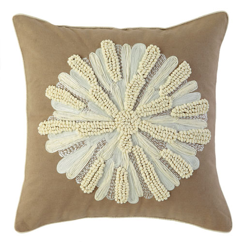 Company C Asters Driftwood 18 In. Throw Pillow with Down Insert