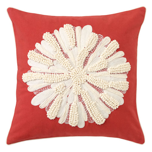 Company C Asters Newport Red 18 In. Throw Pillow with Down Insert