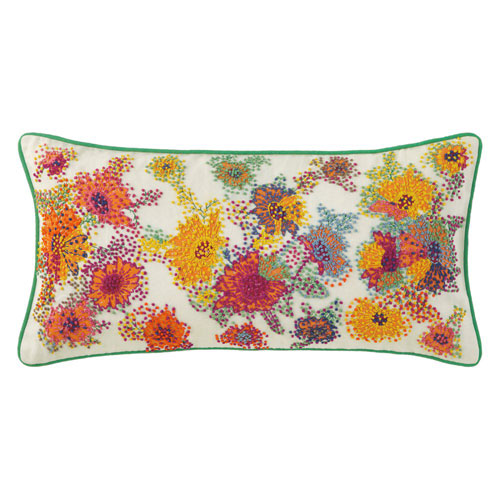 French Knot Floral White 12 x 24 In. Throw Pillow with Down Insert