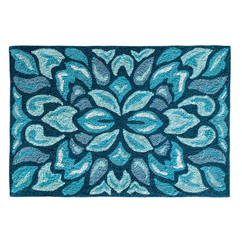 Petal Pusher Mineral Blue Rectangular: 2 Ft. x 3 Ft. Indoor/Outdoor Rug