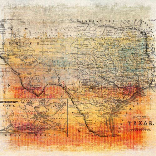Marmont Hill Texas Map 24 x 24 In. Painting Print on Wrapped Canvas