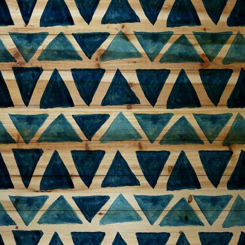 Marmont Hill Blue Triangle Bows 18 x 18 In. Painting Print on Natural Pine Wood