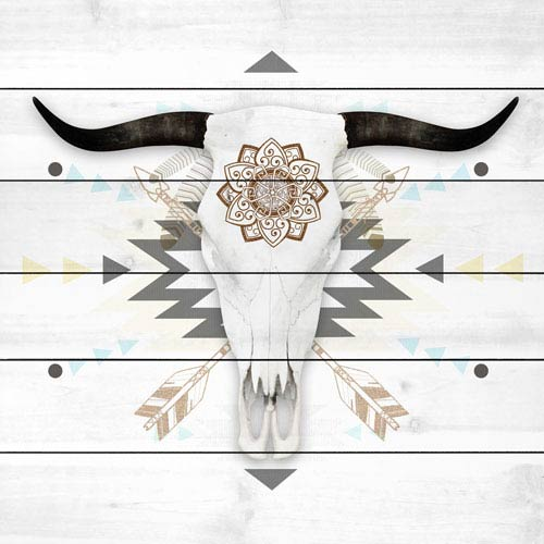 Marmont Hill Brave Skull 32 x 32 In. Painting Print on White Wood