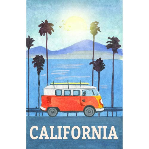 Marmont Hill Cali Orange Bus 16 x 24 In. Painting Print on Wrapped Canvas