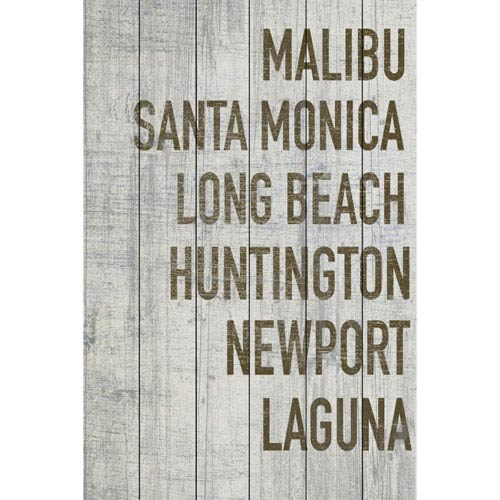 Marmont Hill Beaches of California in Grey 24 x 36 In. Painting Print on White Wood