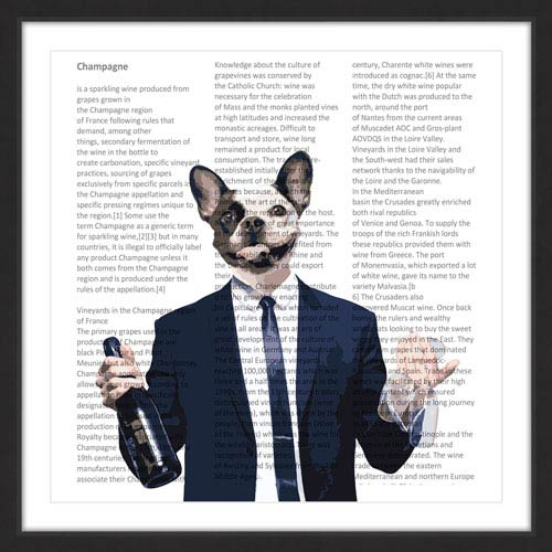 Marmont Hill Frenchie With Wine Bottle 12 x 12 In. Framed Painting Print
