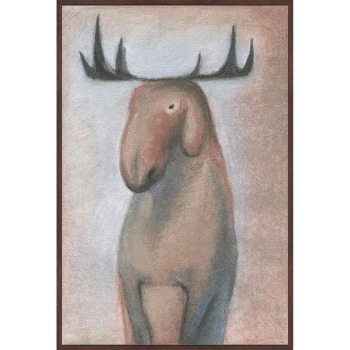 Marmont Hill Happy Moose 24 x 36 In. Painting Print on Wrapped Canvas