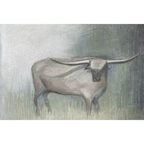 Marmont Hill Longhorn Grey 45 x 30 In. Painting Print on Wrapped Canvas
