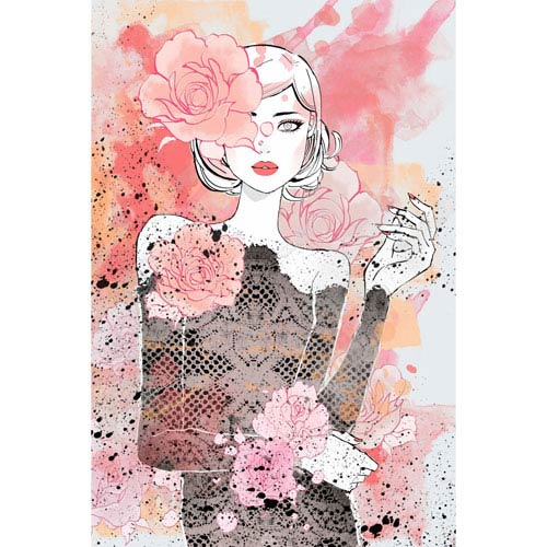 Marmont Hill Floral Girl 20 x 30 In. Painting Print on Wrapped Canvas