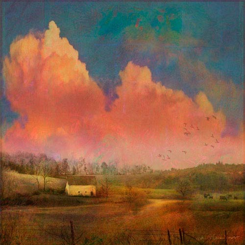 Marmont Hill Pastoral Sunset 18 x 18 In. Painting Print on Wrapped Canvas