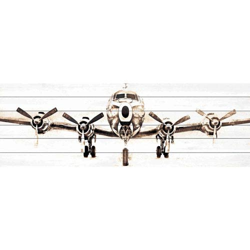 Airplane 60 x 20 In. Painting Print on White Wood