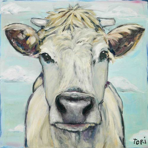 Marmont Hill When Cows Fly 24 x 24 In. Painting Print on Wrapped Canvas