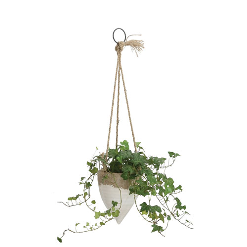 White Colorblock Hanging Planter with Jute
