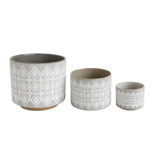 Shoreline Grey and White Stoneware Pots - Set of 3