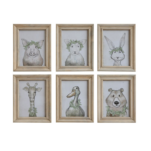 Little One Multicolor Wood Framed Animal Wall Decor - Set of 6