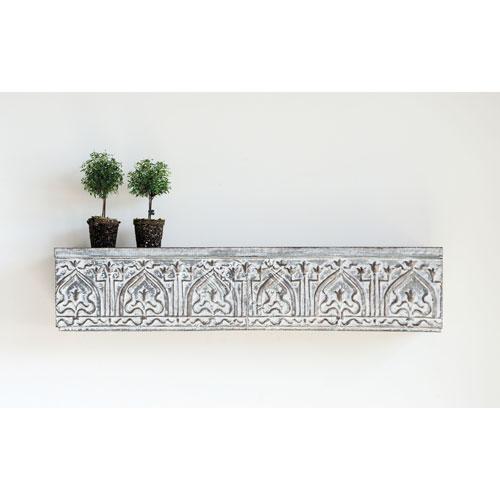 Chateau White and Grey Decorative Metal Wall Shelf