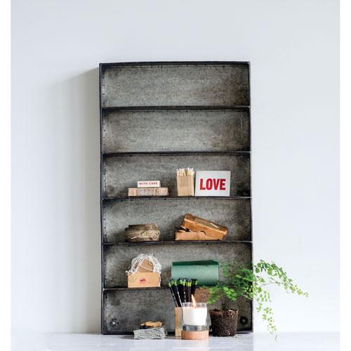 Shoreline Distressed Grey Metal 6 Tier Wall Shelf