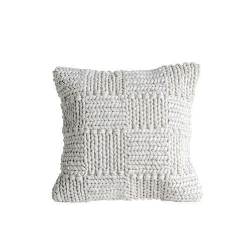 Collected Notions Cream Square Wool Knit Pillow