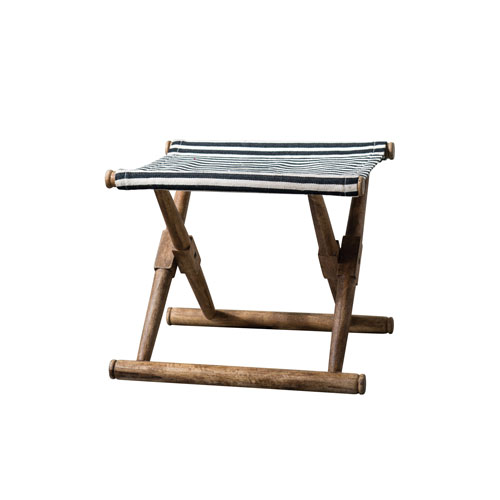 Botanist Mango Wood Folding Stool with Black and White Cotton Fabric