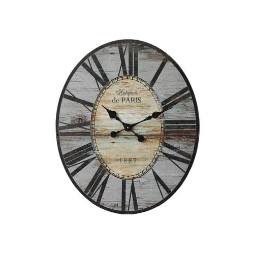 Grey Oval Distressed Wood Wall Clock